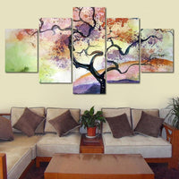 5-Piece Colorful Watercolor Tree Sunset Canvas Wall Art