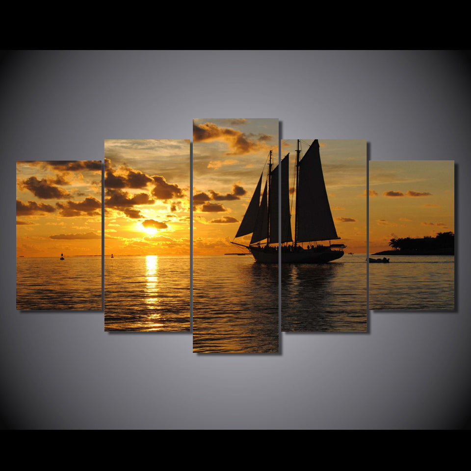 5-Piece Orange Cloudy Sailboat Sunset Canvas Wall Art