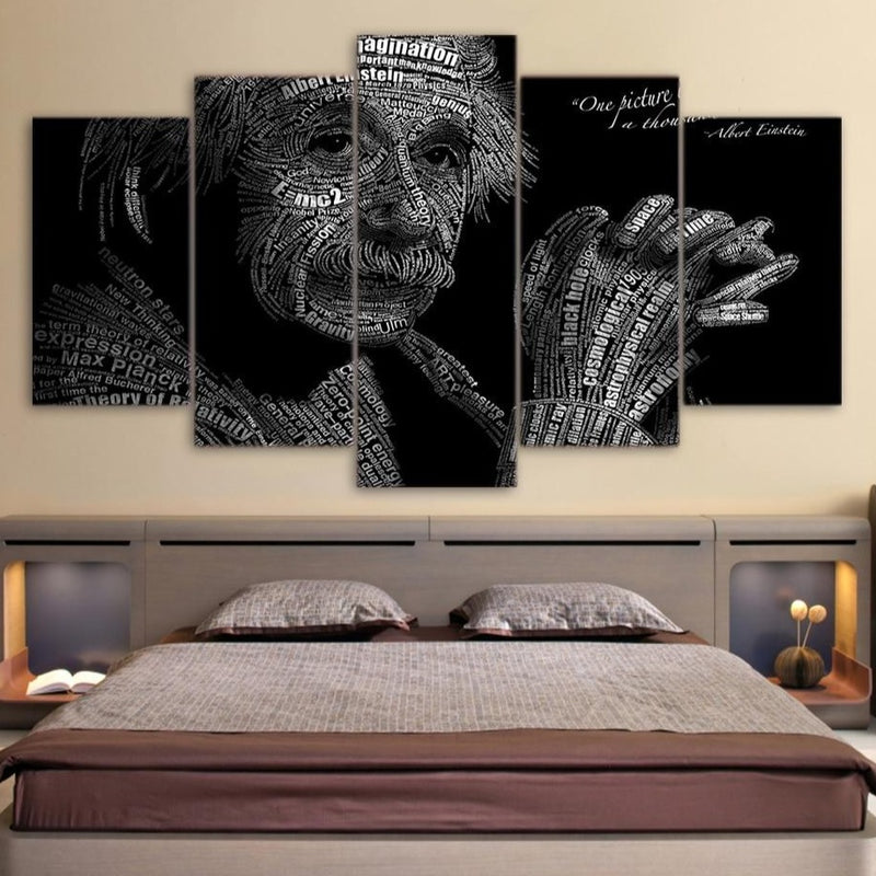 5-Piece Abstract Albert Einstein Physics Print Canvas Wall Art