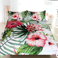 3-Piece Pink Floral Palm Leaf Print Duvet Cover Set