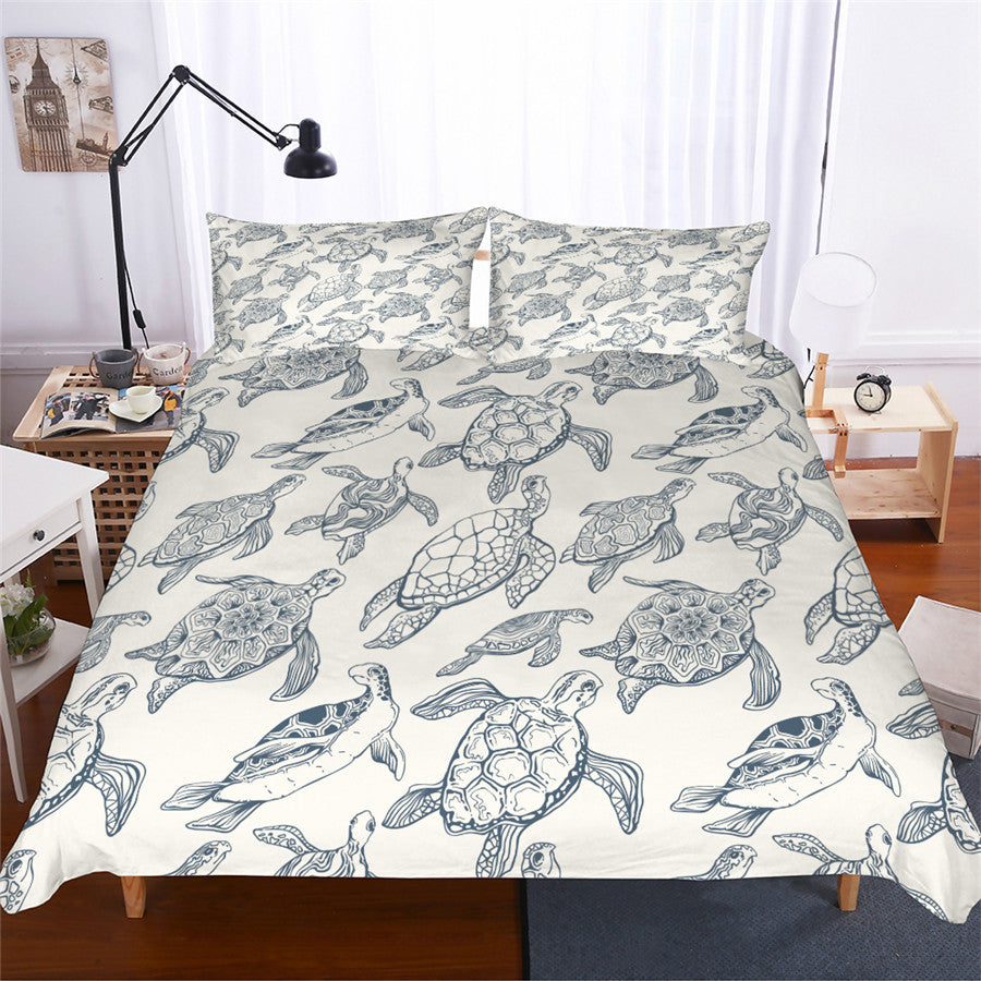 White 3-Piece Sea Turtle Pattern Duvet Cover Bedding Set