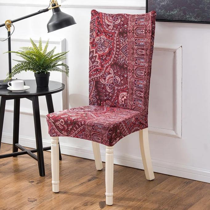 Red Bohemian Floral Pattern Dining Chair Cover