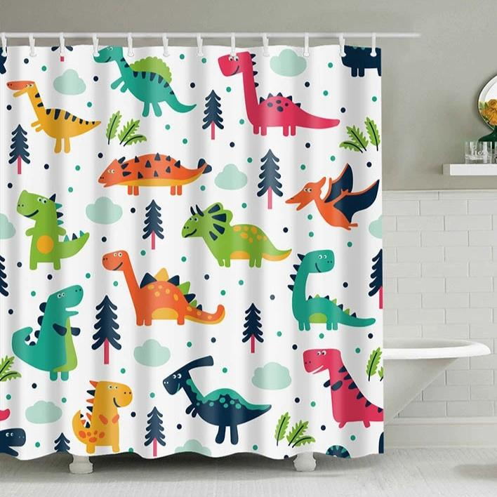 Kids Colorful Cartoon Dinosaur Bathroom Shower Curtain