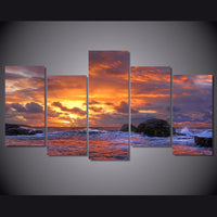 5-Piece Rocky Coastal Sunset Canvas Wall Art