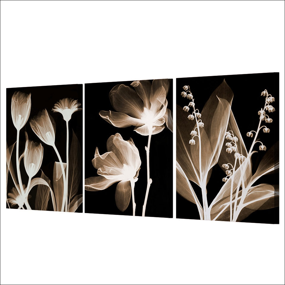 3-Piece Black & White Flowers In The Dark Canvas Wall Art