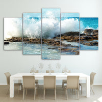 5-Piece Crashing Coastal Waves Canvas Wall Art