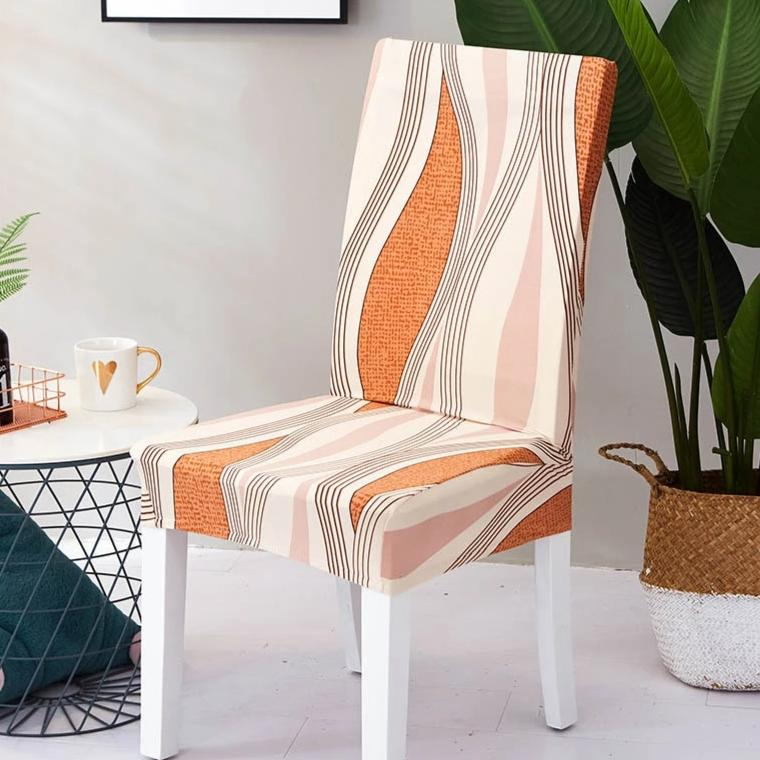 Orange Abstract Wave Pattern Dining Chair Cover