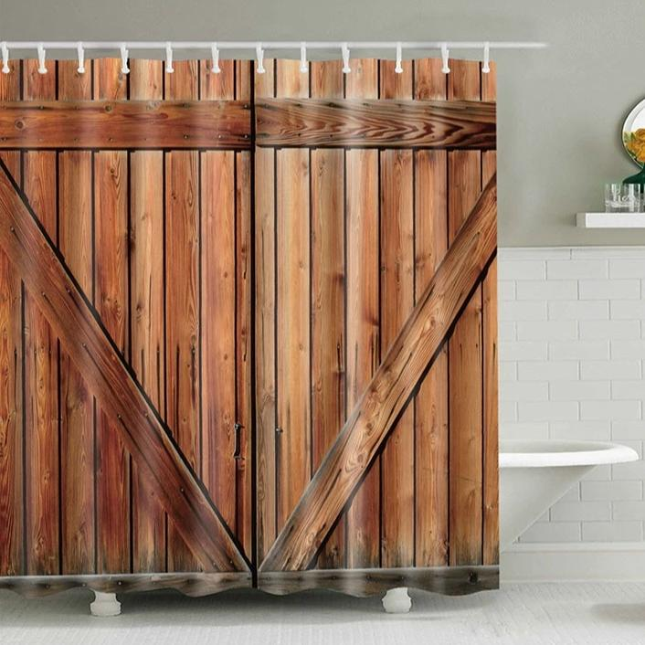 Wooden Fence Door Print Bathroom Shower Curtain