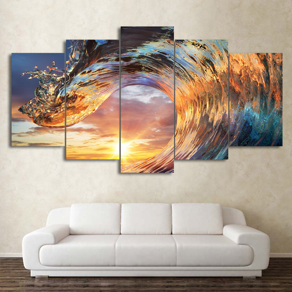 5-Piece Tropical Ocean Wave Sunset Canvas Wall Art