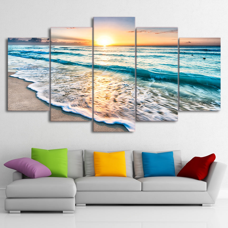 5-Piece Tropical Beach Sunset Canvas Wall Art