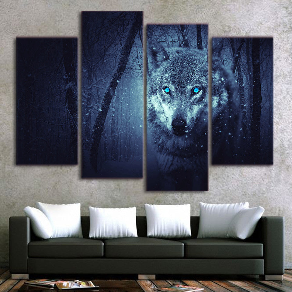 4-Piece Blue-Eyed Snow Wolf Hunt Canvas Wall Art
