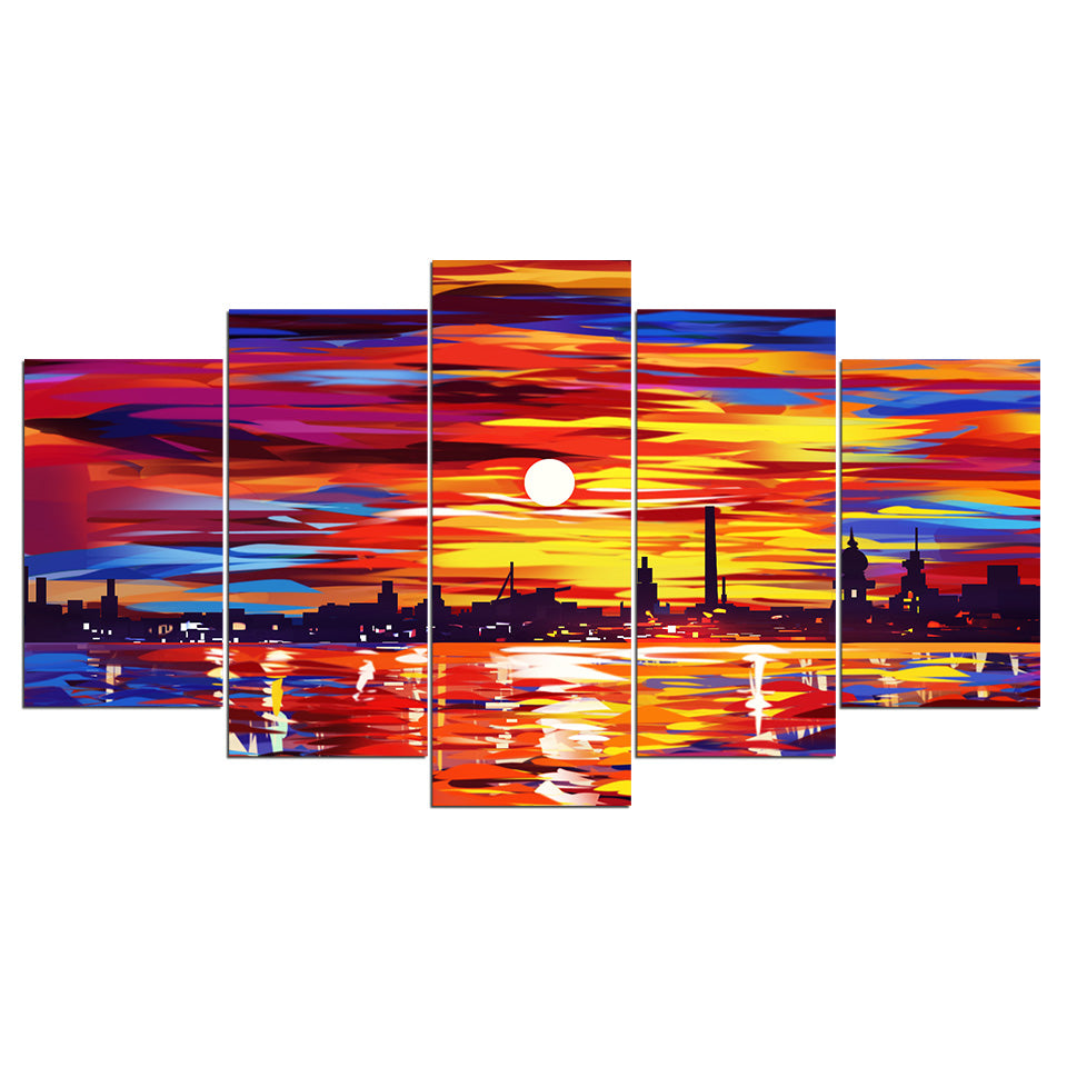 5-Piece Abstract Coastal City Sunset Canvas Wall Art