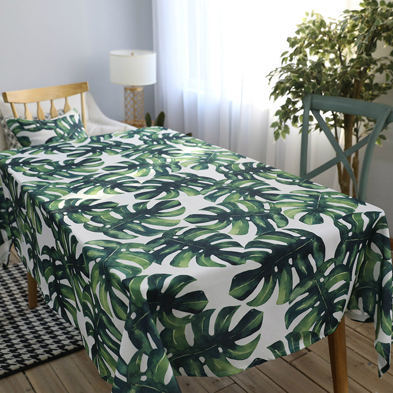 White Tropical Palm Leaf Print Polyester Tablecloth