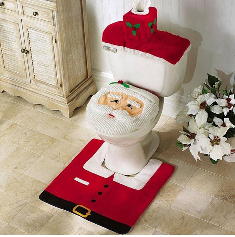 3-Piece Christmas Bathroom Mat / Toilet Seat Cover Set