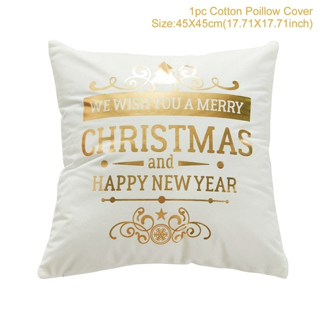 "18"" Black / White / Gold Merry Christmas Throw Pillow Cover"
