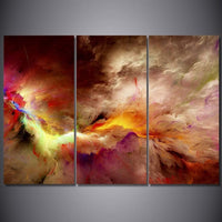 3-Piece Psychedelic Space Cloud Nebula Canvas Wall Art