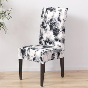 Single-Color Abstract Tie-Dye Print Dining Chair Cover