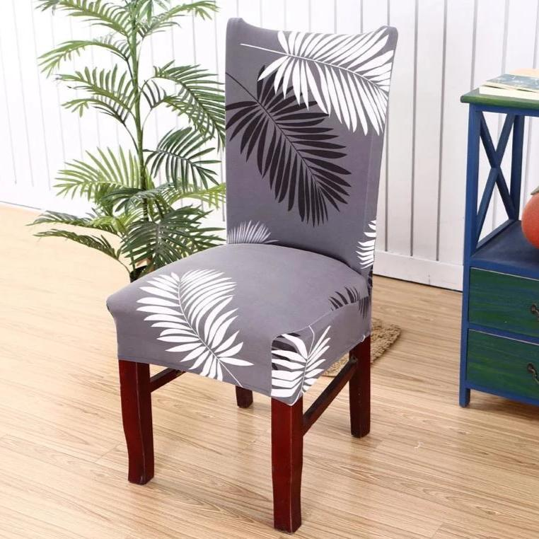 Gray Fern / Palm Leaf Pattern Dining Chair Cover