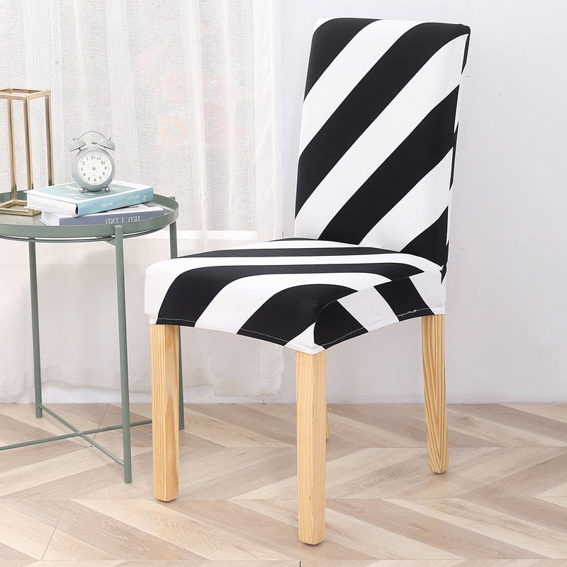 Black & White Diagonal Stripe Dining Chair Cover