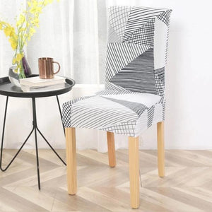 Incredible Gray White Abstract Triangle Pattern Dining Chair Cover Machost Co Dining Chair Design Ideas Machostcouk