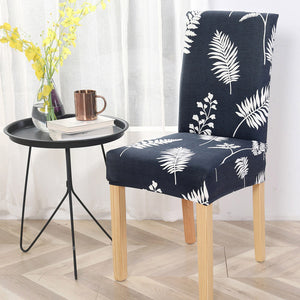 Navy & White Floral Palm Leaf Print Dining Chair Cover