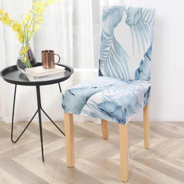 Light Blue Palm Leaf Print Elastic Dining Chair Cover