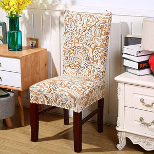 Floral Jacquard Pattern Elastic Dining Chair Cover