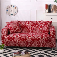 Red Vintage Floral Motif Pattern Sofa Couch Cover