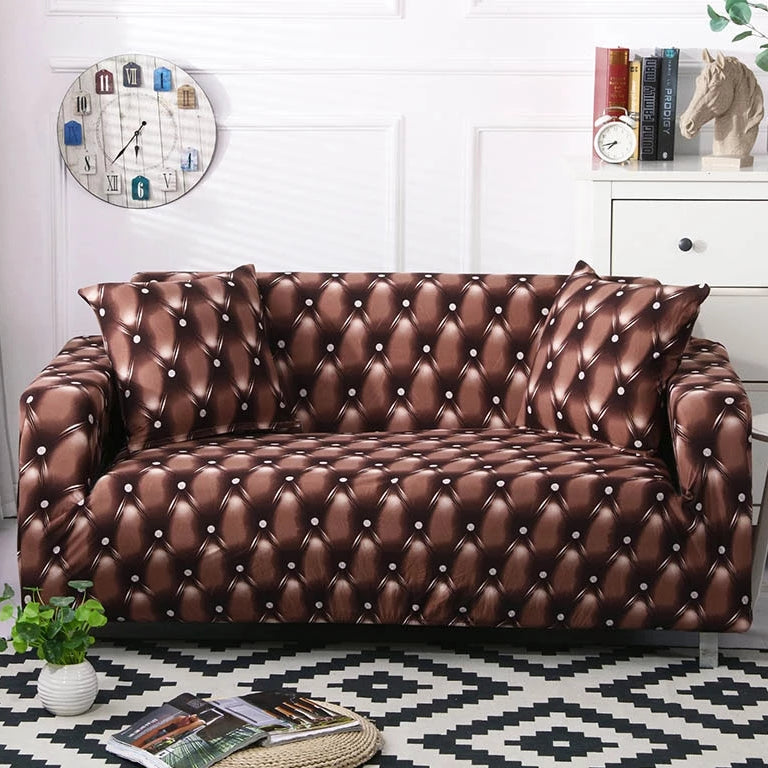 Tufted Leather Print Sofa Couch Cover