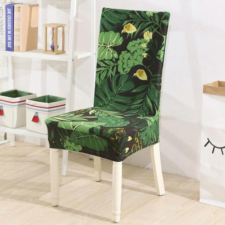 Green Floral Palm Leaf Print Dining Chair Cover