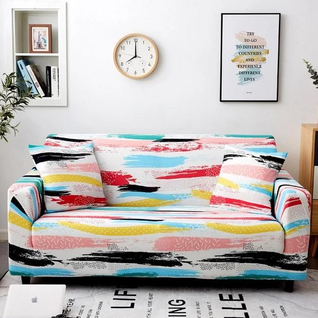 Multi-Color Abstract Paint Stripe Sofa Couch Cover