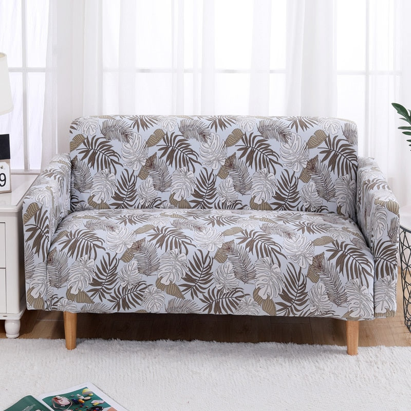 Light Blue / Brown Palm Pattern Sofa Couch Cover