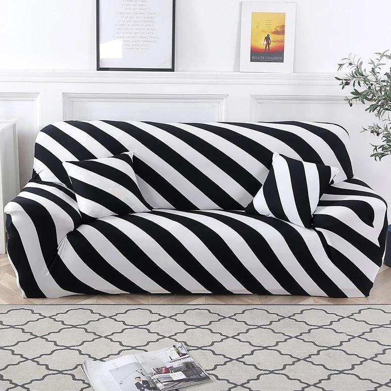 Black & White Diagonal Striped Sofa Couch Cover