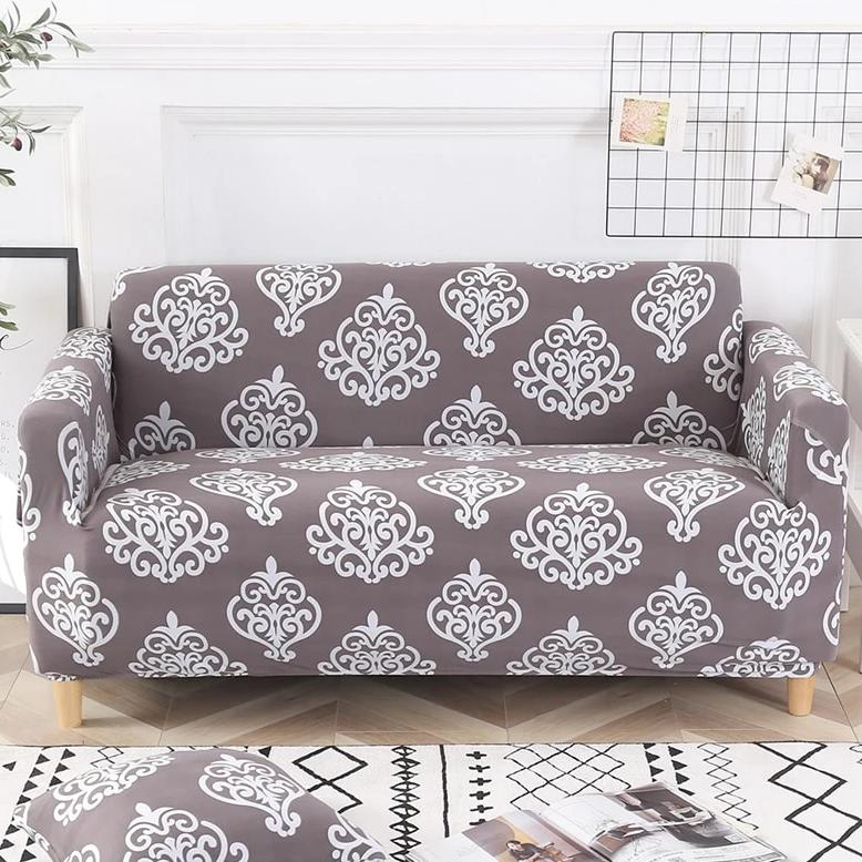 Gray / White Floral Damask Pattern Sofa Couch Cover