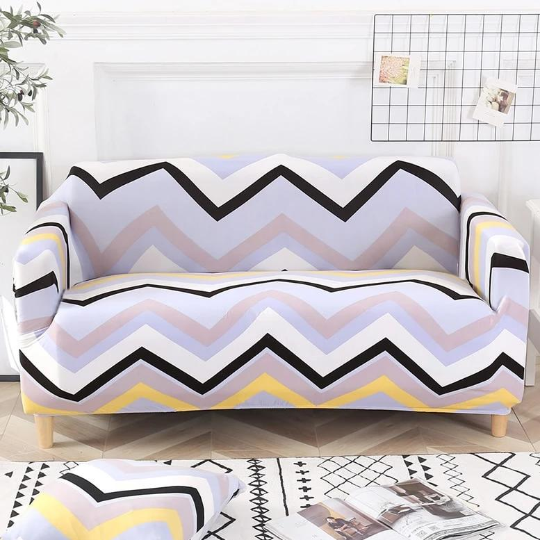Multi-Color Pastel Chevron Stripe Sofa Couch Cover