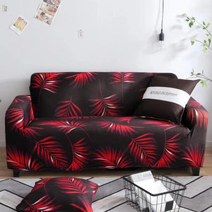 Red Fern / Palm Leaf Pattern Sofa Couch Cover