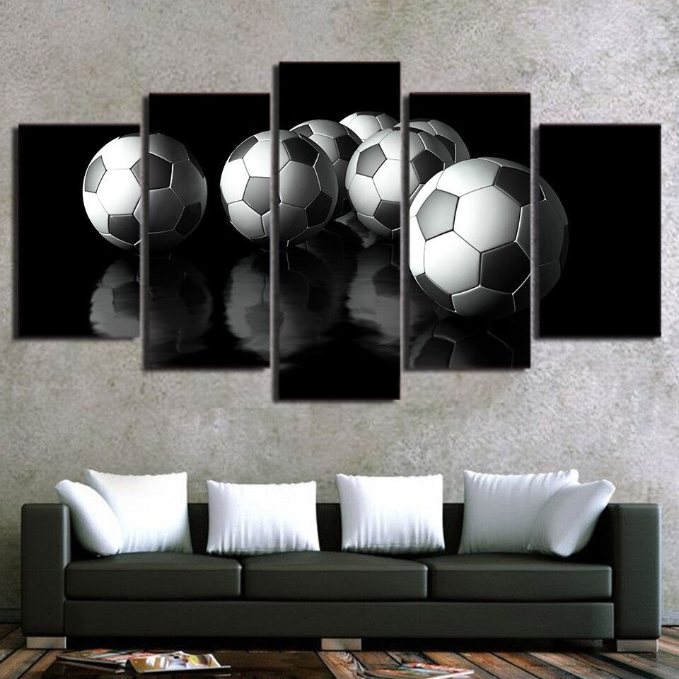 5-Piece Black & White Reflecting Soccer Balls Canvas Wall Art