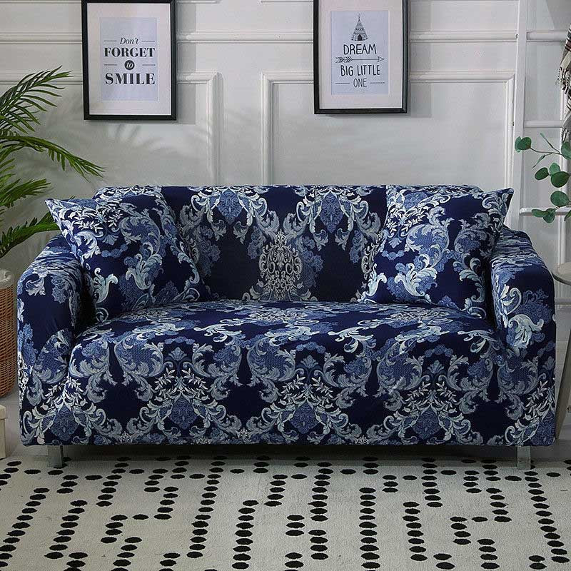 Blue Vintage Floral Damask Pattern Sofa Couch Cover