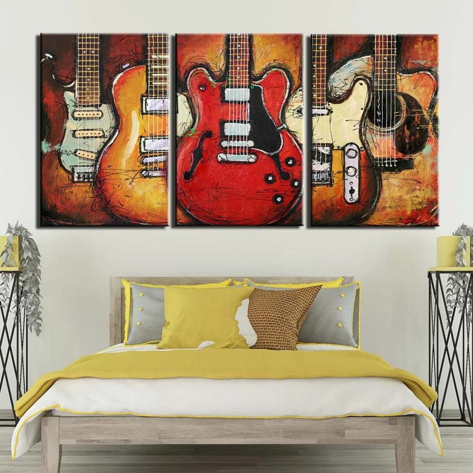 3-Piece Abstract Musical Guitars Canvas Wall Art