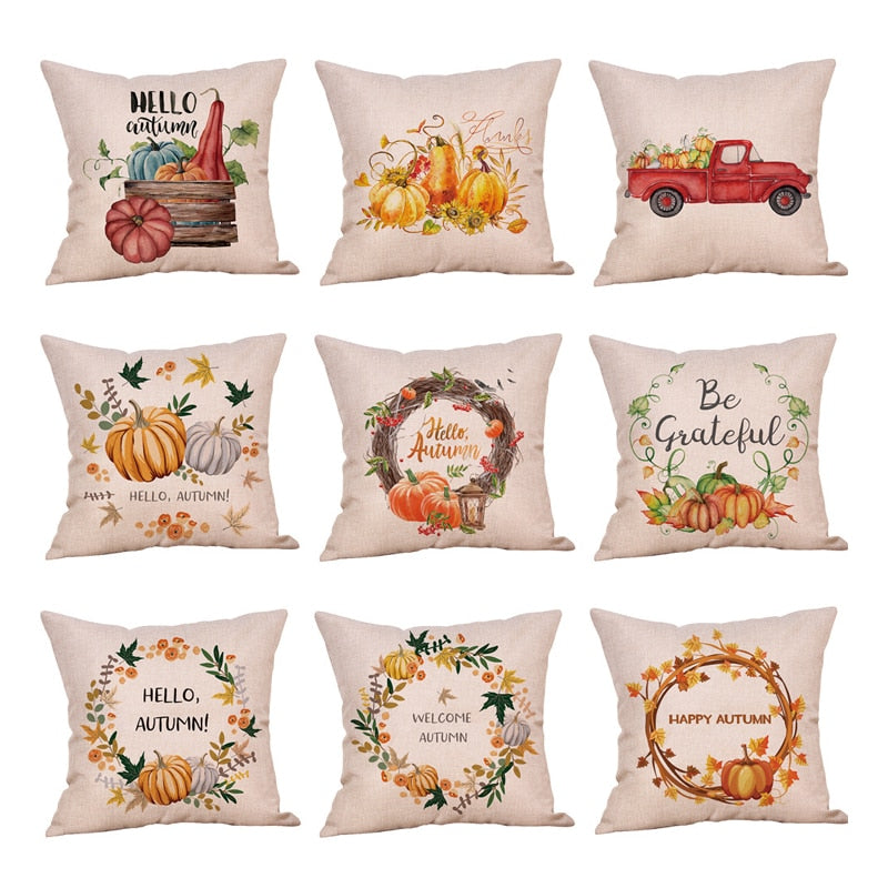 "18"" Country Autumn / Thanksgiving Print Throw Pillow Cover"