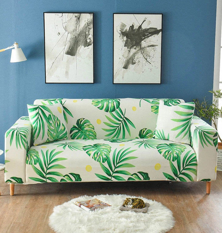 Ivory Green Palm Leaf Pattern Sofa Couch Cover