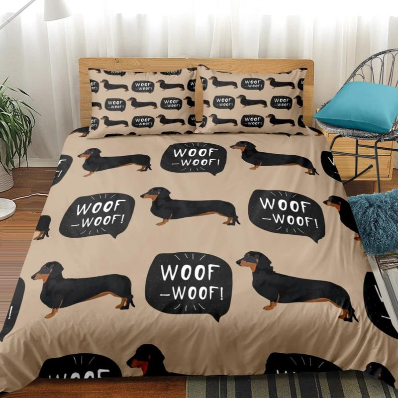 Brown 2/3-Piece Woof Woof Dachshund Dog Duvet Cover Set