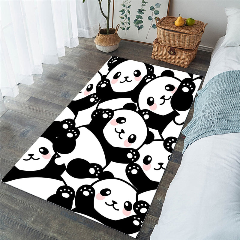 Black & White Cartoon Panda Area Rug Floor Mat