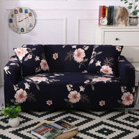 Dark Navy Blue Pink Floral Pattern Sofa Couch Cover