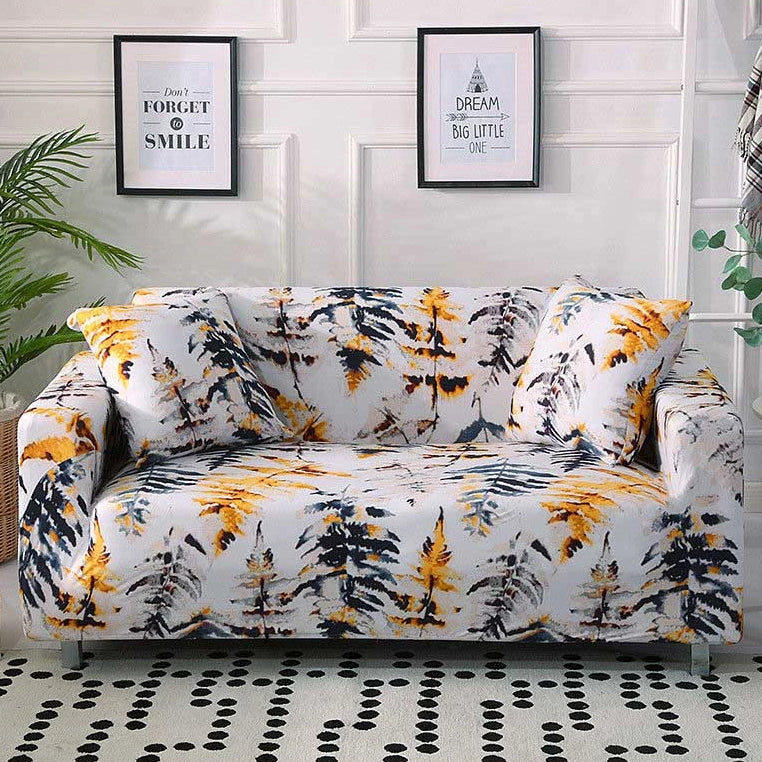 Abstract Orange Pine Tree Leaf Pattern Sofa Couch Cover