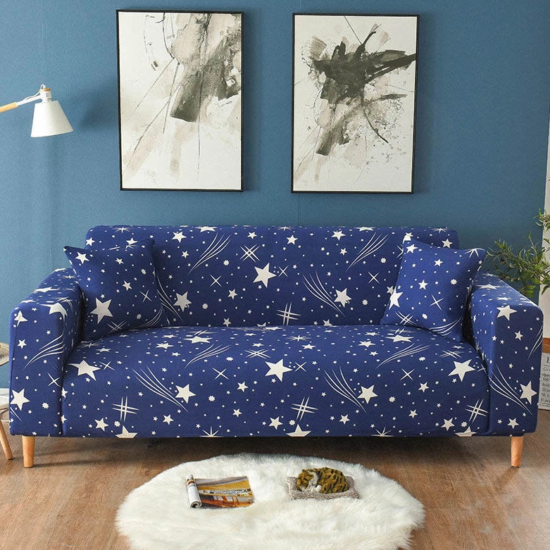 Blue Shooting Star Pattern Sofa Couch Cover