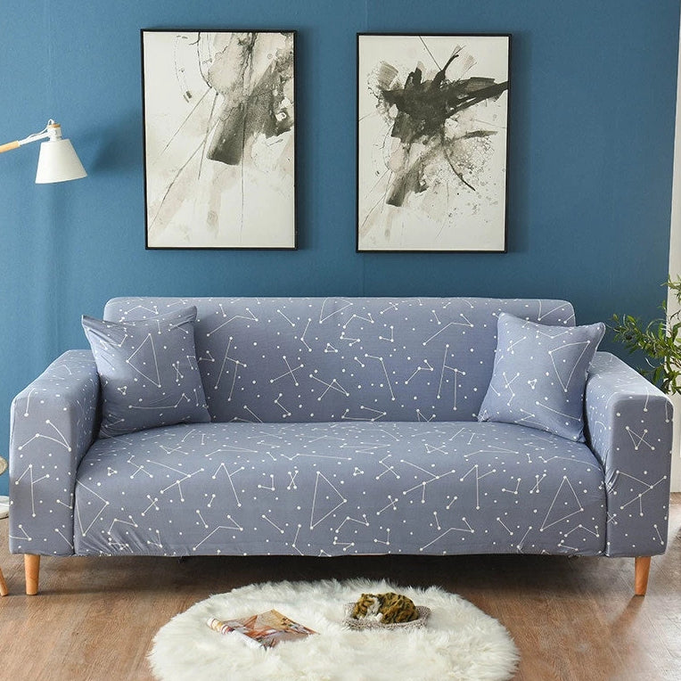 Blue Gray Constellation Pattern Sofa Couch Cover