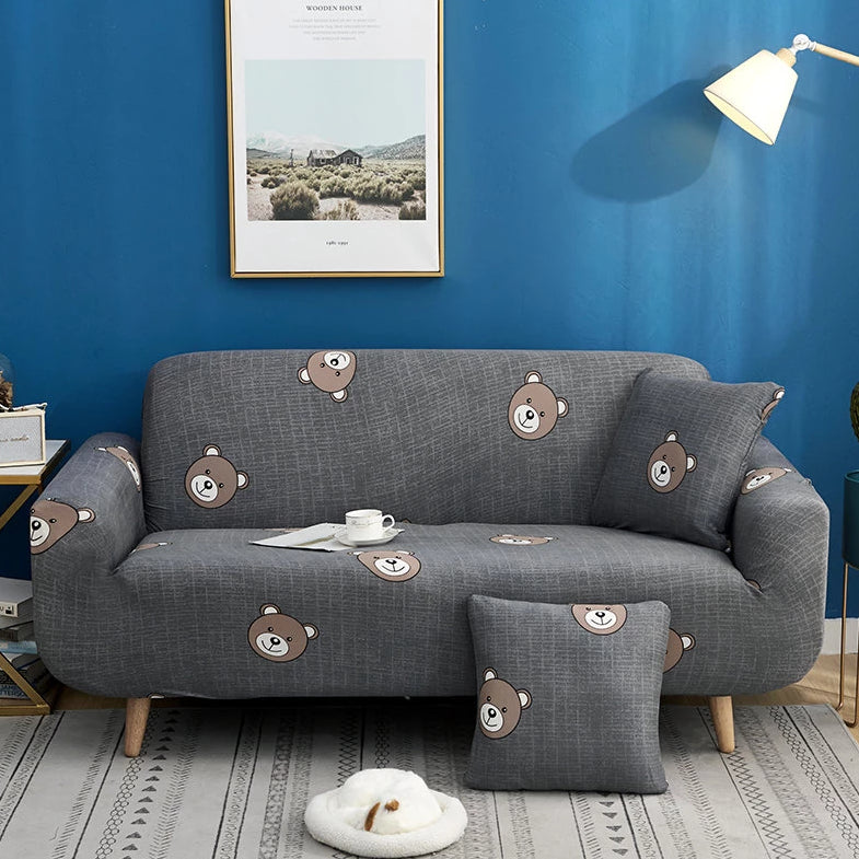 Dark Gray Teddy Bear Pattern Sofa Couch Cover