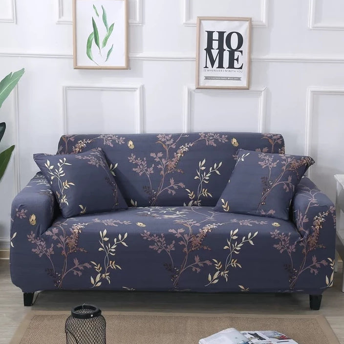 Vintage Blue Floral Branch Pattern Sofa Couch Cover