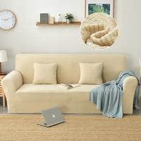Solid Ribbed Plush Velvet Elastic Sofa Couch Cover
